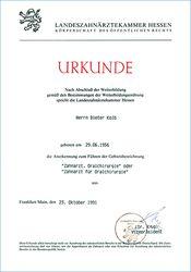 Dr. Kolb - Urkunde Landesärztekammer