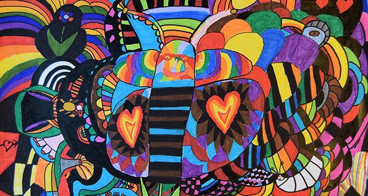 """""""Hundertwasser"""" von Barbara Häuser ist nur eines von rund 40 farbenfrohen Gemälden und Computergrafiken, die ab dem 8. Mai in Lauterbach zu sehen sind. Foto: Barbara Häuser/Projekt Bindeschuh"""
