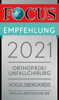 FOCUS Empfehlung 2021 - Orthopädie/Unfallchirurgie Vogelsbergkreis