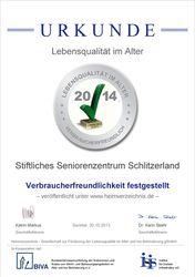 Urkunde Lebensqualität im Alter 2014