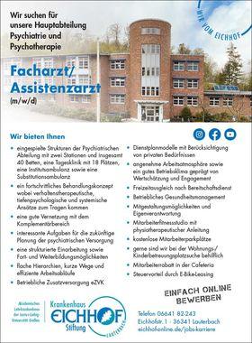 Facharzt/ Assistenzarzt (m/w/d) - Psychiatrie und Psychotherapie