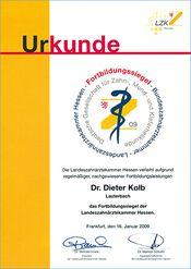 Dr. Kolb - Urkunde Fortbildungssoiegel