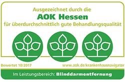 Ausgezeichnet durch die AOK Hessen im Leistungsbereich Blinddarmentfernung