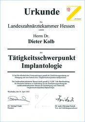Dr. Kolb - Urkunde Implantologie