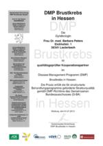 Dr. med. Barbara Peters Qualitätsgeprüfte Kooperationspartnerin im Disease-Management-Programm Brustkrebs in Hessen.