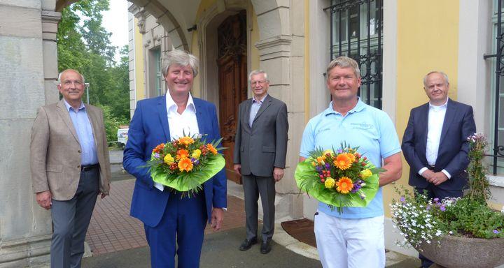 Ein herzliches Willkommen bereiteten Vorstand und Stiftungsrat der Eichhof-Stiftung Lauterbach den beiden neuen Chefärzten (von rechts): Mathias Rauwolf, Dr. Jürgen Ludwig, Heinrich Mai, Dr. Andreas Müller von Postel und Dr. Wolfgang Kniepert.