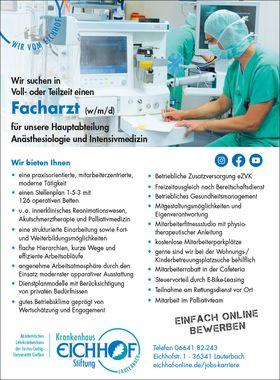 Facharzt Abteilung Anästhesiologie und Intensivmedizin (m/w/d)