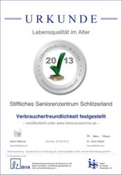 Urkunde Lebensqualität im Alter 2013