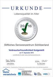 Urkunde Lebensqualität im Alter 2016