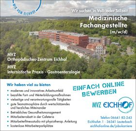 Medizinische Fachangestellte (m/w/d) - MVZ Orthopädisches-Zentrum Eichhof / Internistische Praxis - Gastroenterologie