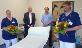 Eine optimale Versorgung der Patienten sehen (von links) Praxisleitung Pamela Kares, Vorstand Mathias Rauwolf, die Internisten Josef Wzatek und Dr. Felix Müller in der interdisziplinären Zusammenarbeit zwischen MVZ und Krankenhaus Eichhof.