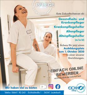 Ausbildungsplatz: Gesundheits- und Krankenpfleger, Krankenpflegehelfer, Altenpfleger, Altenpflegehelfer (m/w/d)